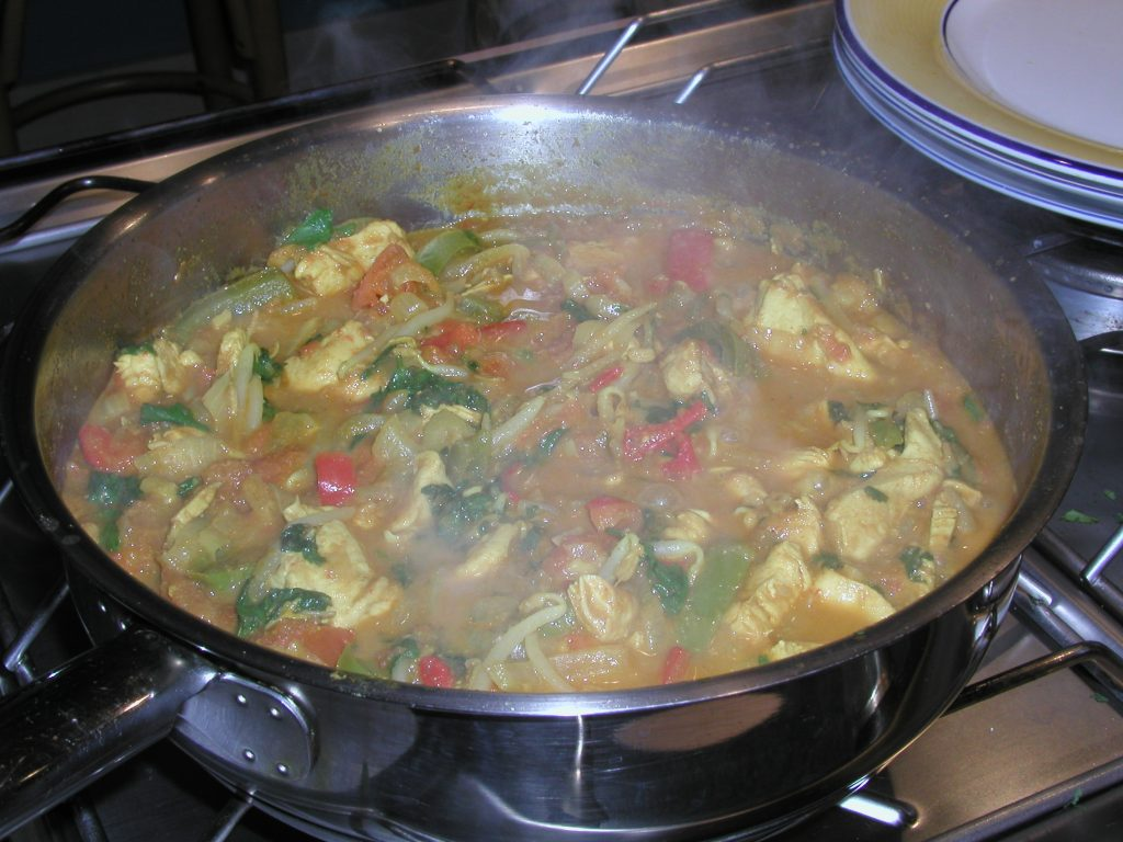 Cooking the chicken curry